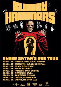 Bloody Hammers 'Under Satan's Sun' tour poster
